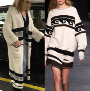 The outfit on the right is by Isabel Marant. The cost was about 1,200.00 for the outfit. The sweater on the left is from Zara for $129.00. Not an exact copy, but you get the same feeling for a lot less.