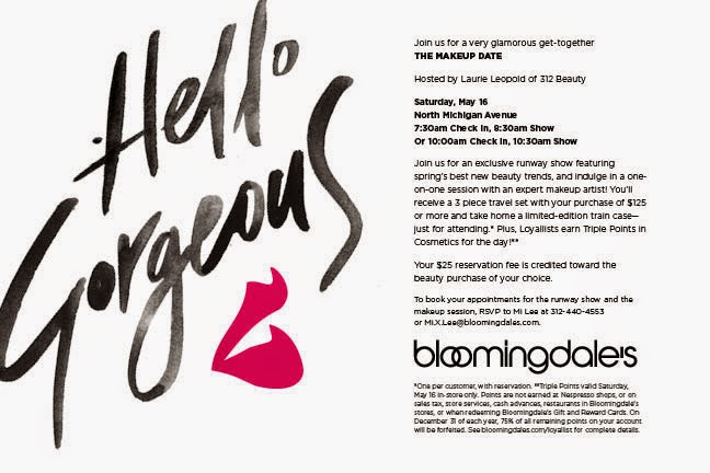 Invitation to THE MAKEUP DATE at Bloomingdale's on May 16th