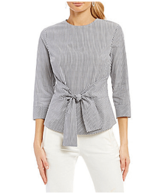 For mature women, the tie front blouse is great, hiding the tummy area.