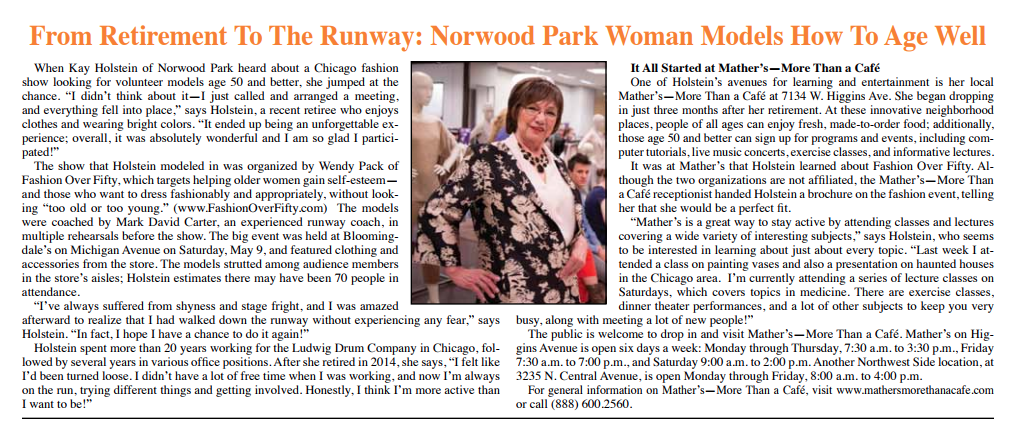 From Retirement To The Runway: Norwood Park Woman Models How To Age Well
